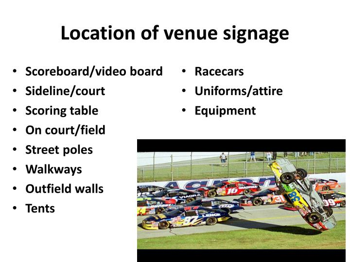 Location of venue signage