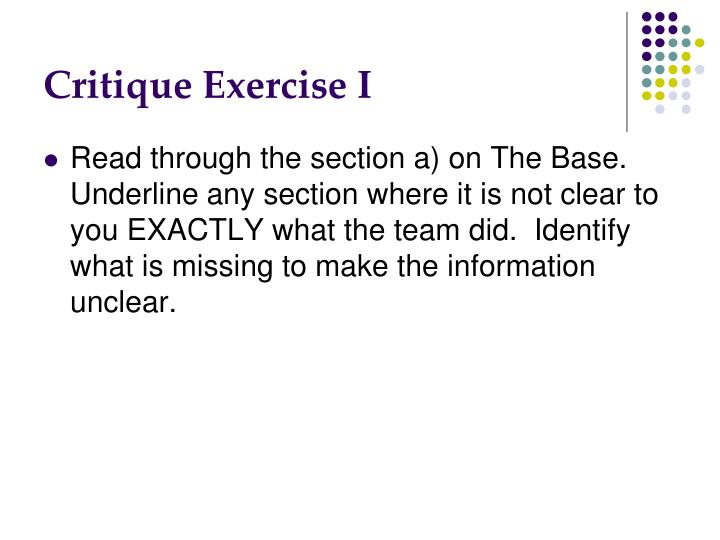 Critique Exercise I
