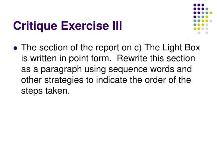 Critique Exercise III