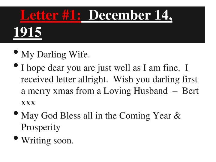 Letter #1:
