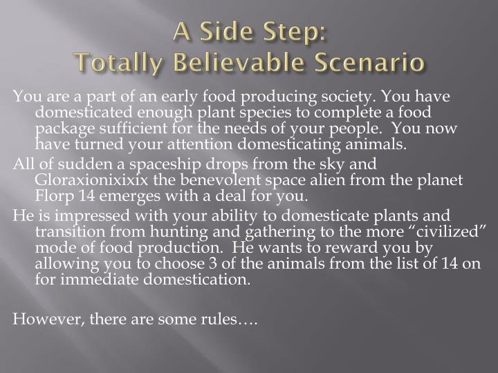 A side step totally believable scenario