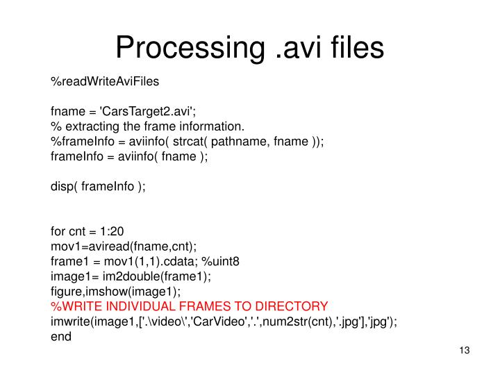 Processing .avi files