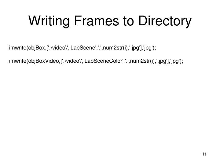 Writing Frames to Directory