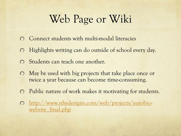 Web Page or Wiki