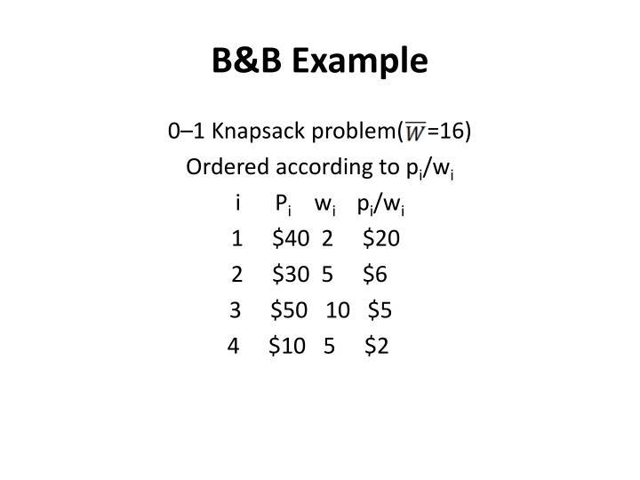 B&B Example