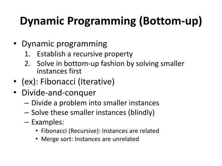 Dynamic Programming (Bottom-up)