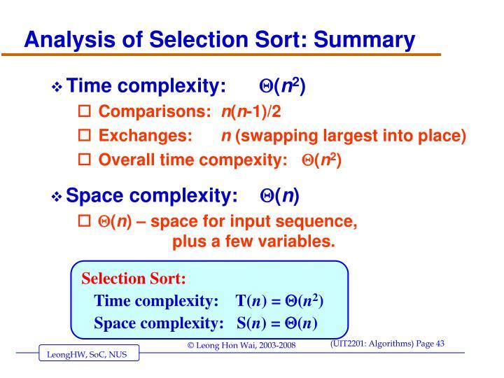 Analysis of Selection Sort: Summary