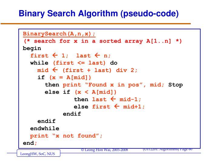 Binary Search Algorithm (pseudo-code)