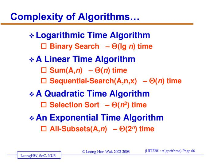 Complexity of Algorithms…