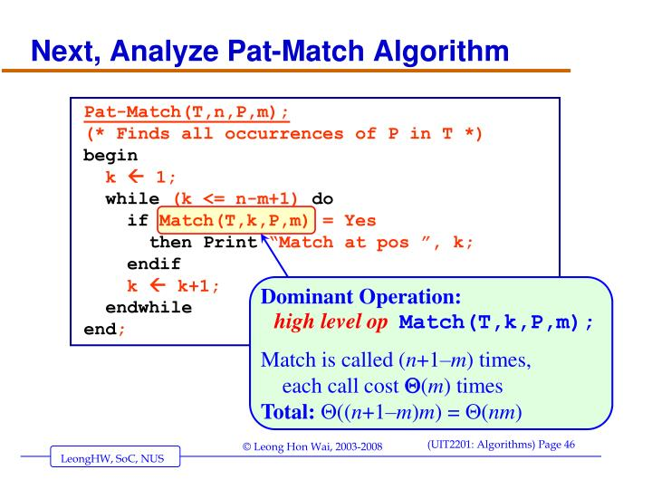 Next, Analyze Pat-Match Algorithm