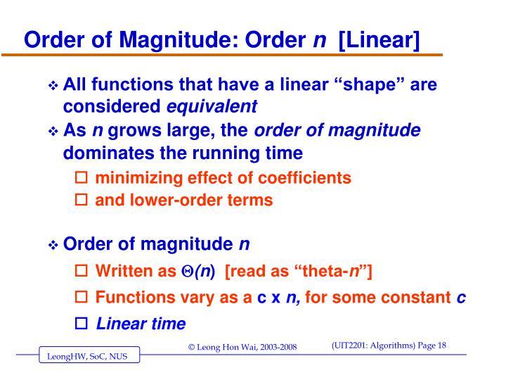 Order of Magnitude: Order