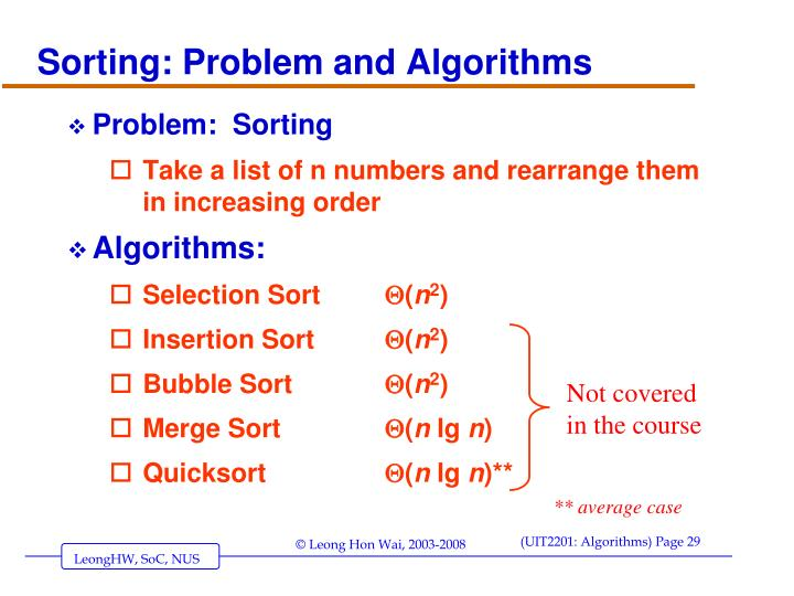 Sorting: Problem and Algorithms