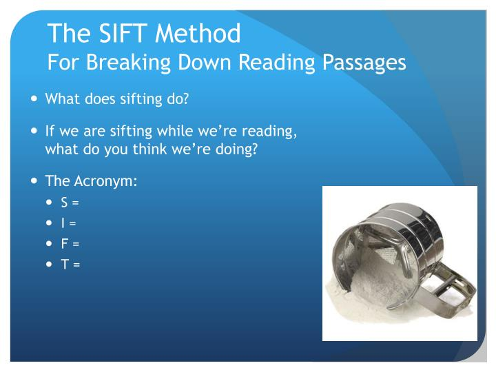 The SIFT Method