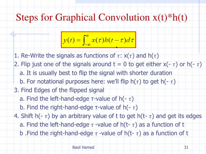 Steps for Graphical Convolution x(t)*h(t)
