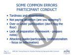 some common errors participant conduct