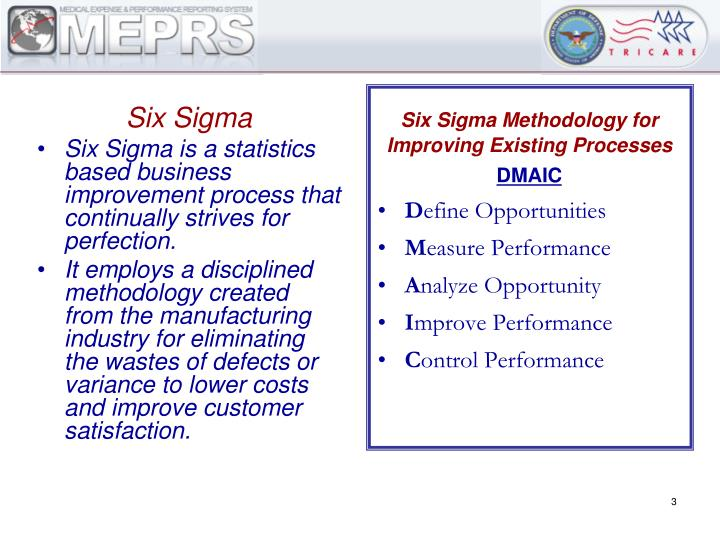 Six sigma meprs management metrics