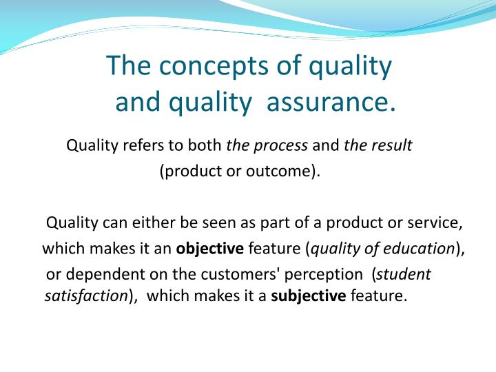 The concepts of quality