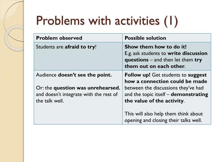 Problems with activities (1)