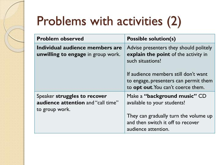 Problems with activities (2)