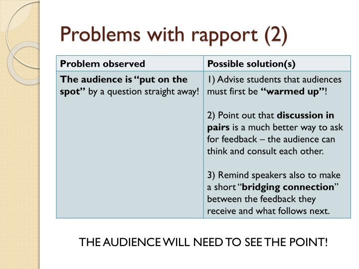 Problems with rapport (2)