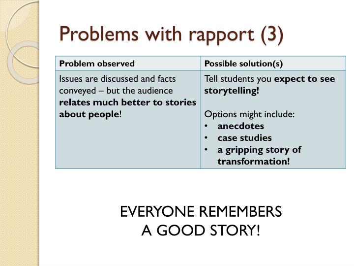 Problems with rapport (3)