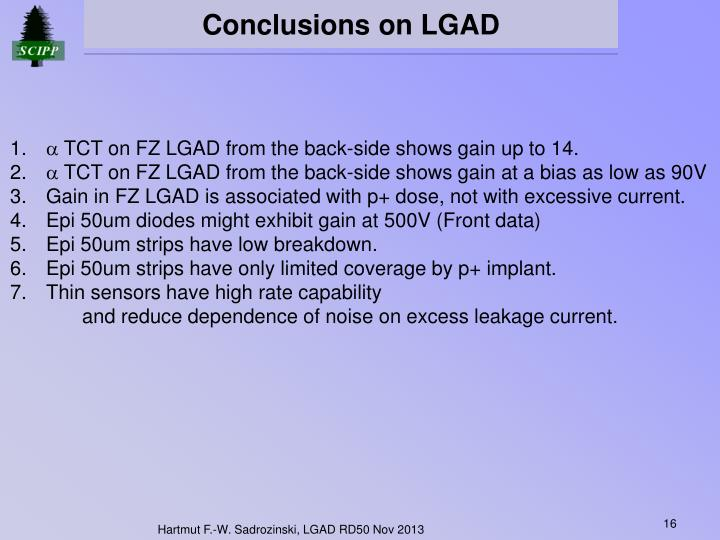 Conclusions on LGAD