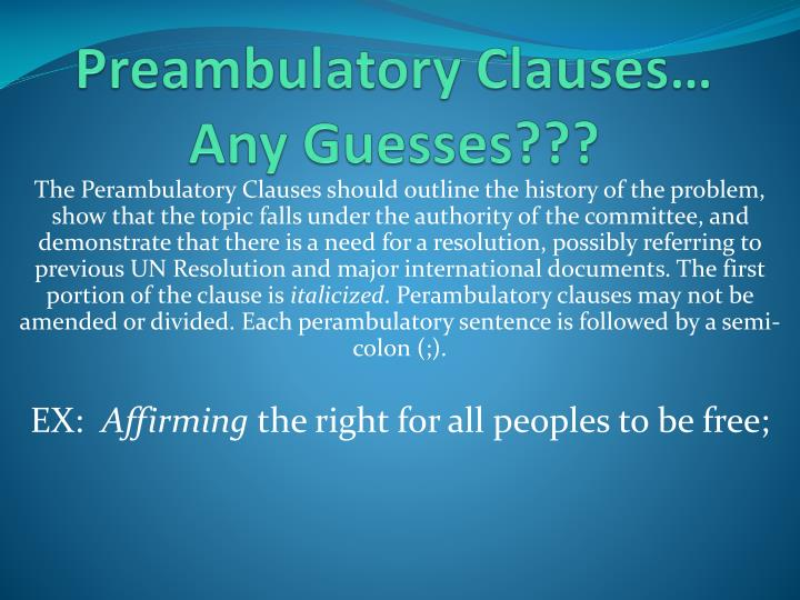 Preambulatory Clauses