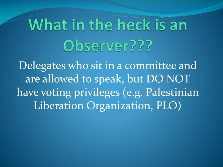 What in the heck is an Observer???