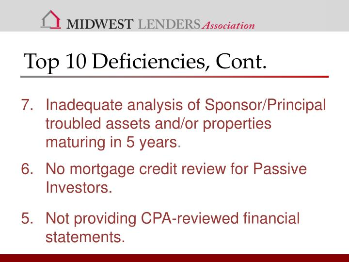 Top 10 Deficiencies, Cont.