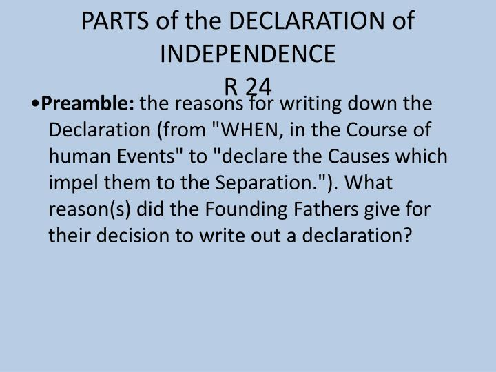 Parts of the declaration of independence r 24