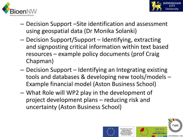 Decision Support –Site identification and assessment using geospatial data (Dr Monika Solanki)