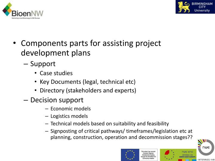 Components parts for assisting project development plans