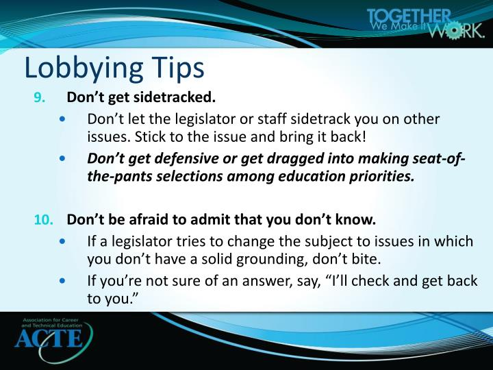 Lobbying Tips