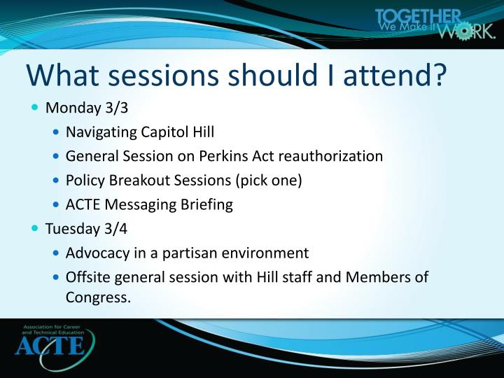 What sessions should I attend?