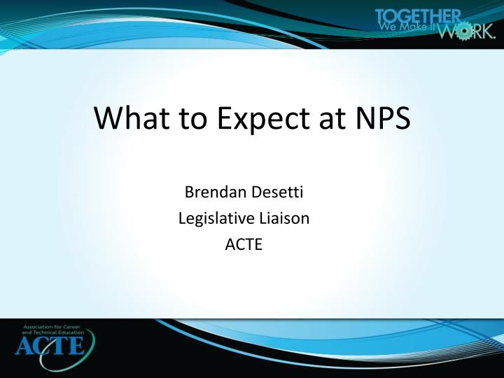 What to expect at nps