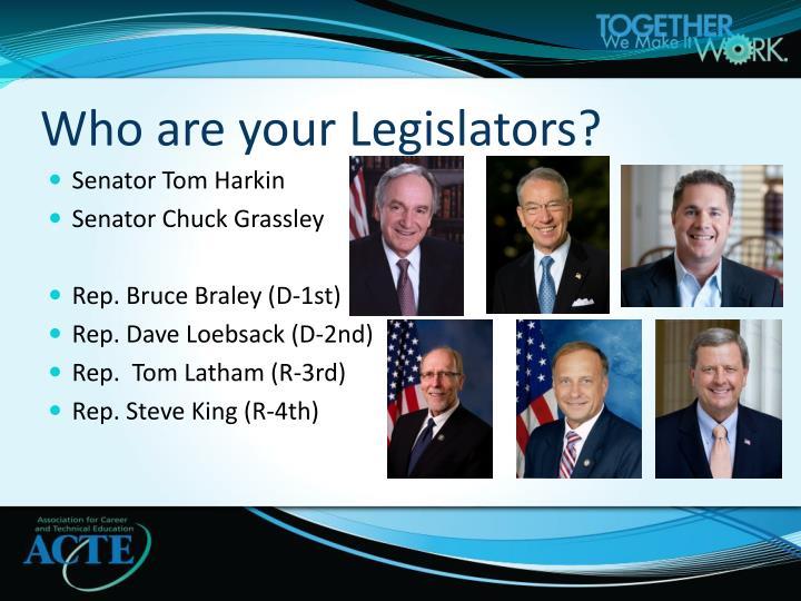 Who are your Legislators?