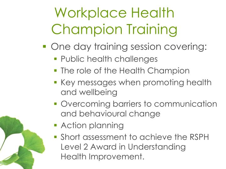 Workplace Health Champion Training