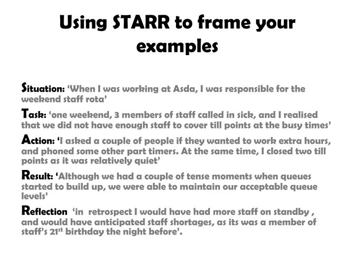 Using STARR to frame your examples