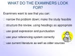 what do the examiners look for2