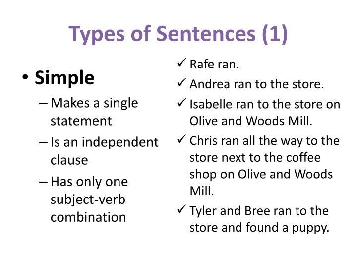 Types of Sentences (1)