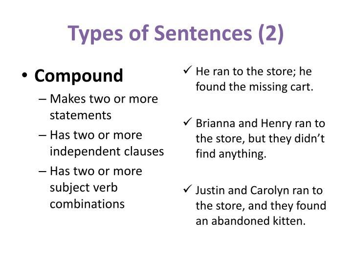 Types of Sentences (2)