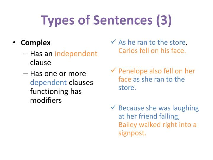 Types of Sentences (3)