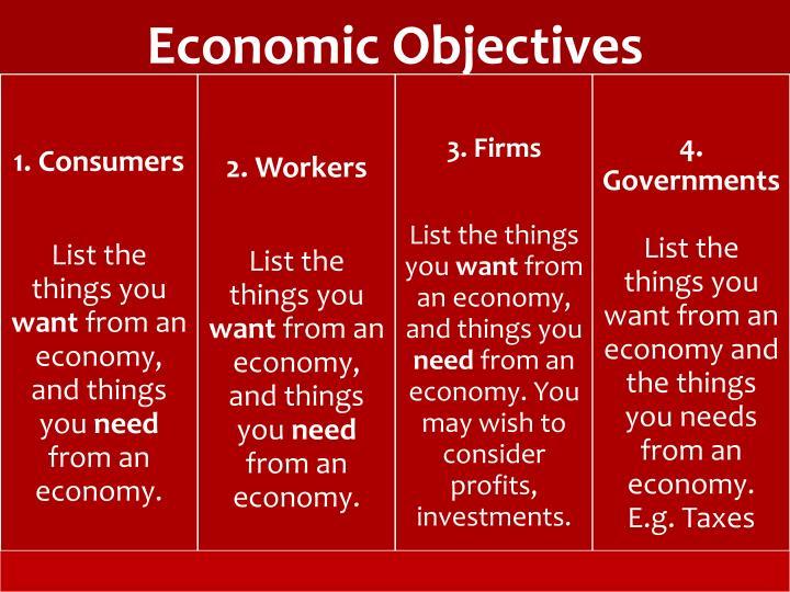Economic objectives