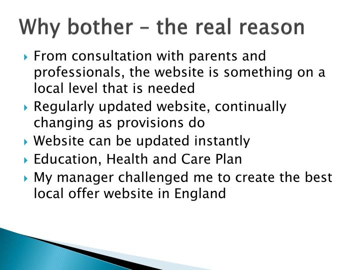 Why bother – the real reason