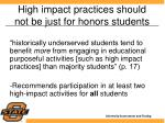 high impact practices should not be just for honors students