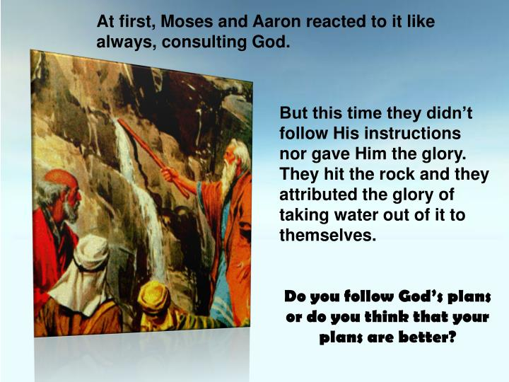 At first, Moses and Aaron reacted to it like always, consulting God.