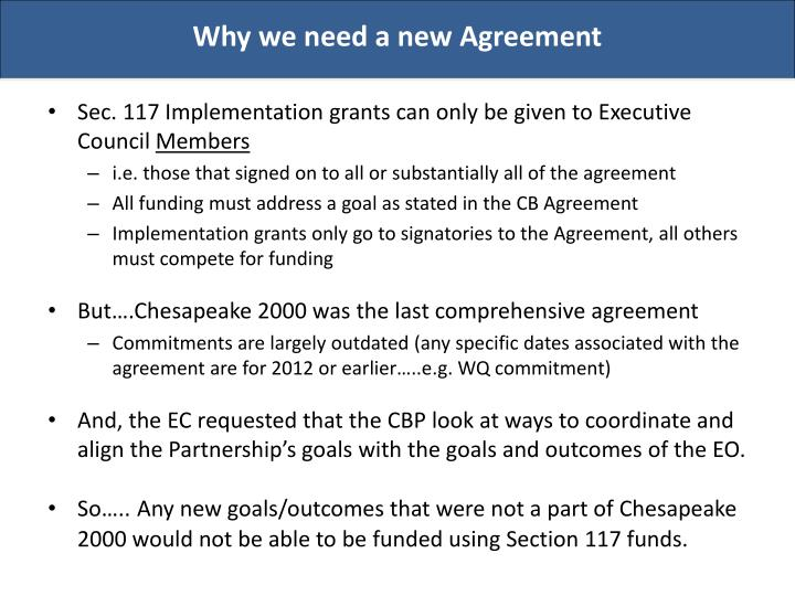 Why we need a new Agreement