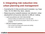 ii integrating risk reduction into urban planning and management