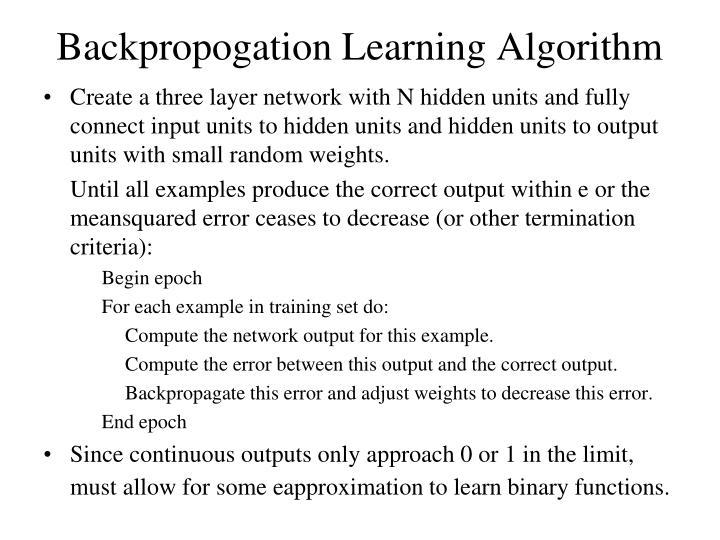 Backpropogation Learning Algorithm