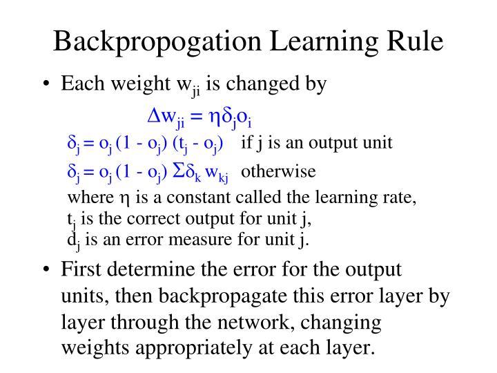 Backpropogation Learning Rule